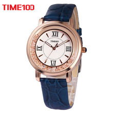 2017 New TIME100 Women's Watch Blue Leather Strap Roman Numeral Big Dial Ladies Quartz Wrist Watches For Women relogio feminino(China)