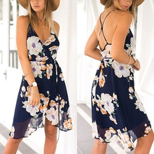 Fashion 2017 Women Summer Sexy Chiffon Boho Long Maxi Floral Beach Dress Ladies Casual Party Cocktail Clubwear Black Dresses