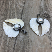 White Angel Wing Shape Shell Pendant Charm,Paved Pearl and Rhinestone Cap Necklace Jewelry Making  MY1336