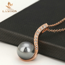 Top Quality N435 Black Imitation Pearl Necklace Rose Gold Color Fashion Jewellery Nickel Free Pendant Crystal