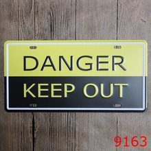 "15*30cm Vintage Car Number Warnings""DANGER KEEP OUT"" Metal Wall Stickers Tin Signs Home Bar Painting Cafe Garage Ornaments"