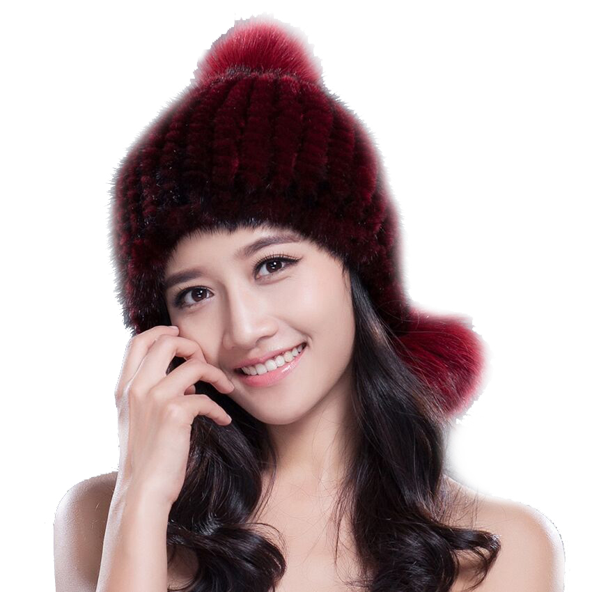 Hot sale real mink fur hat for women winter knitted mink fur beanies cap with 3 fox fur pom poms 2017 brand new thick female capОдежда и ак�е��уары<br><br><br>Aliexpress