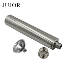 JUJOR 2 OZ Stainless Steel Hip Flask Short Mirror Polished Flat Bottom Tube Like Cigar with Funnel Simple Beauty(China)