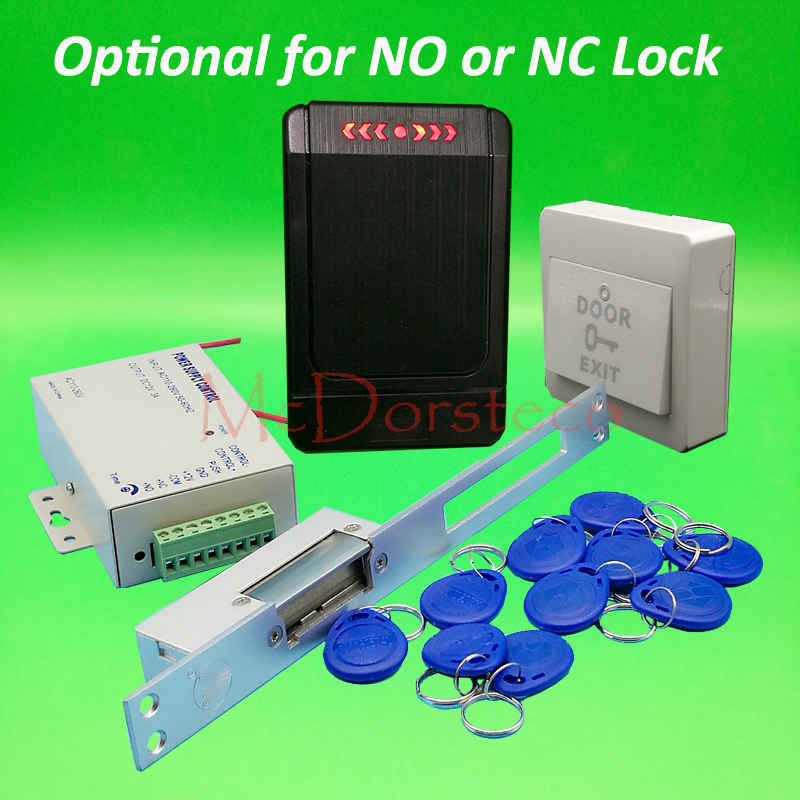 DIY 125khz Rfid waterproof Door Access Control Kit Set with yli Long type No or Nc Electric Strike Lock System No keypad Access<br>