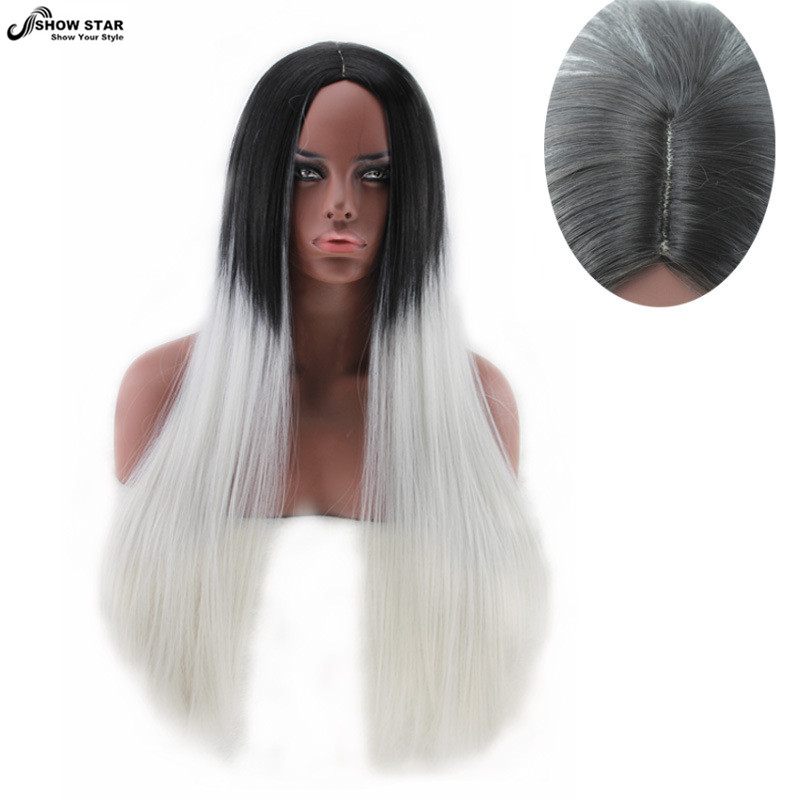 Charming Long Straight Hair Black To Grey Ombre Wig Heat Resistant Fibre Synthetic Stylish Cosplay Party Wigs peruca pelucas<br><br>Aliexpress
