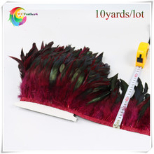 wholesale 10 Yards long Dyed burgundy high quality natural Rooster Feather Fringe trims with Satin Ribbon Tape for skirt costume(China)