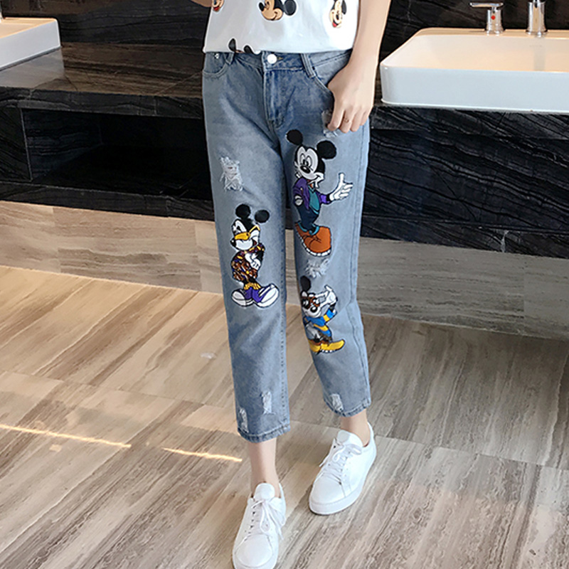 Plus Size5XL Holes Jeans Female Spring Summer Autumn 2017 Mickey Printing Cartoon Denim Pants Mid Waist Ankle Length Jeans PantsОдежда и ак�е��уары<br><br><br>Aliexpress