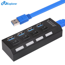 Mini USB HUB 4 Port Usb Splitter 3.0 Hub with On/Off Switch USB Power Interface Portable for Laptop PC Computer Usb Hab