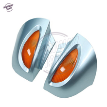 Silver Blue Motorcycle Rear View Mirrors with Turn Signal Cover Case for BMW R1100 RT R1100 RTP R1150 RT
