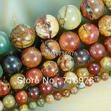 "wholesale Natural Stone Beads Colorful Picasso Round Loose Beads For Jewelry Making 15.5"" Pick Size 4/6/8/10/12mm -F00072"