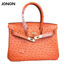 Women's Leather Bag Padlock Ostrich Pattern Brand Desinger Woman Cowhide Bags Genuine Leather Handbags Shoulder Messenger Bag