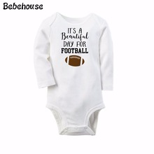 Baby Body Boy It Is A Beautiful Day For Football Romper White Long Sleeve Baby Winter Overalls Next Baby Newborn Clothes Body(China)