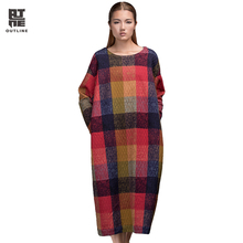Outline Designer Women Plaid Autumn Dress in Vintage Cotton Loose Pullover with British Style Plus Size Print Long Robe L153Y008