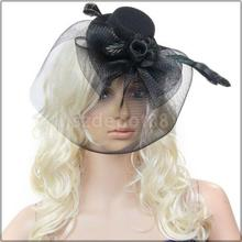 Ladies Mini Top Hat Costume Hair Clip w/ Veil and Flying Feather - Black