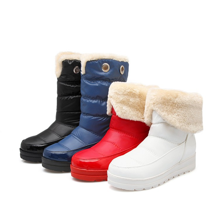 Two Wear Waterproof Fur Snow Boots Woman 2017 Platform Down Warm Winter Shoes Mid High Female Boots Thick Bottom Casual 43 Size<br>
