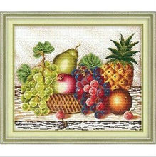 Embroidery Package Free Shipping  Cross Stitch Kits Grape Ananas Fruit Basket Oil Painting