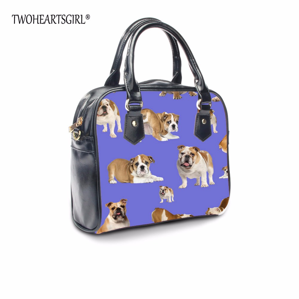 TWOHEARTSGIRL Naughty Pug Printed Ladies PU Leather Tote Handbag Cow Pattern Women Shoulder Bag with Handle Female Crossbody Bag<br>