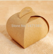 9*7.5*10cm Blank kraft Handle cake boxes and small cake packaging hamburger packaging box Size 9*7.5*10 cm(China)