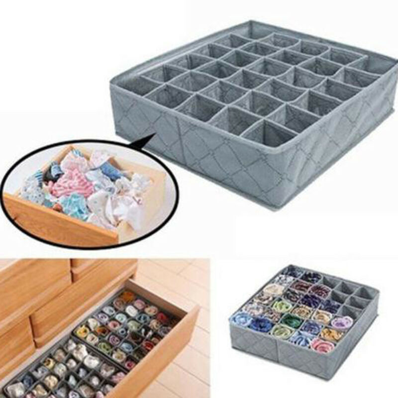 Container Socks Drawer-Organizer Underwear 30-Cells-Storage-Box Foldable Case Coal-Bag title=