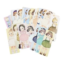 12 pack/lot Different Lovely Girls With Curly Hair Paper Tray Bookmark Vintage Cards Paper Bookmarks For Books Postcard(China)