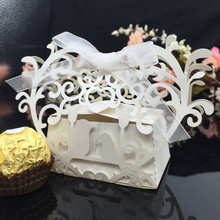 20pcs Romantic Mini DIY Carved Heart Shape Candy Box Laser Cut Wedding Candy Cookie Gift Box for Wedding Party with Ribbon(China)