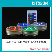3AAA Battery Operated 2.8inch 10Multicolors RGB LED Submersible Waterproof Mini LED Light Base For Wedding Party Events W/Remote