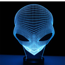 3D LED Night Lights Other Planets People Head with 7 Colors Light for Home Decoration Lamp Amazing Visualization Optical Illusio
