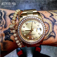 ATTYIRENA New Zircon Bracelets Men Jewelry Cubic Micro Pave CZ Crown Charm&4mm Gold Round Beads Braided Macrame Bracelet