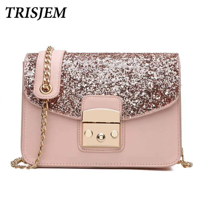 Luxury Glitter Sequined Women Messenger Bag Pink Chain Luxury Handbags Women Bags Designer Female Shoulder Bags Women 2017