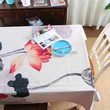 Chinese Style Water Lily Tablecloth Cotton Linen Printed Tablecloth paint Customize Tablecloth