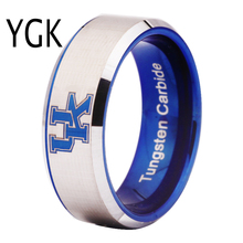 Free Shipping Customs Engraving Ring Hot Sales 8MM Blue With Shiny Edges UK Design Tungsten Wedding Ring(China)