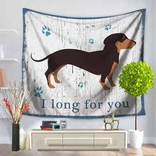 Dachshund Tapestry Cotton Bohemian Cover Beach Towel Throw Blanket Picnic Yoga Mat Home Decoration Textiles Wall Hanging(China)