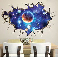 Galaxy Planet Space Wall Sticker For Kids Boys Bedroom Art Vinyl 3D Wall Decal Peel and Stick