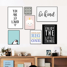 Cartoon Letters Nursery Canvas Paintings Animals Wall Art Pictures Nordic Posters and Prints For Kids Room Home Decor No Frame(China)