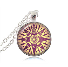 Vintage compass pendant necklace Antique Style Glass Photo Jewelry Find your true north Wind Rose Necklace Space Gift for Women(China)