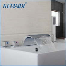 KEMAIDI Deck Mount 5PCS Waterfall Shower Set Bathtub Tub Shower Faucet Three Handles with Handheld Tub Mixer Taps Chrome Finish(China)