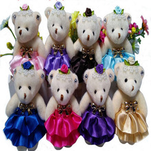 20pcs free shipping Plush Toy Teddy Cartoon Bear Dress Flower Stuffed Animal Wedding Bouquet Flower Wrapping Material wholesale(China)