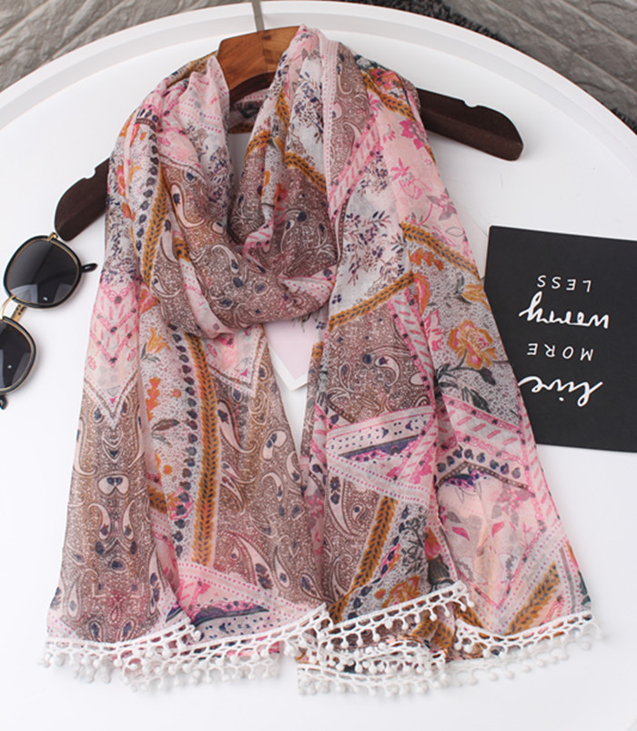 2019 Newest Women Geometry Pattern Cotton Lace Scarf 2Colors 10PCS/LOT