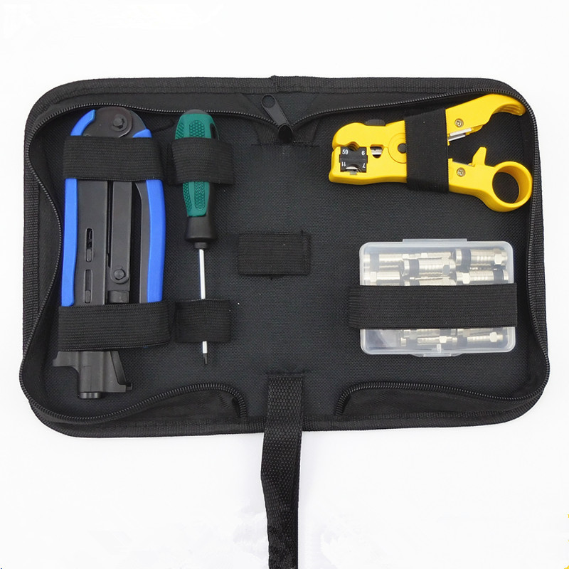 Rg6 / 11 Coaxial Cable F Head Crimping Tool Pliers Wire Strippers Multifunctional High End Combination Set 2017 Real<br>