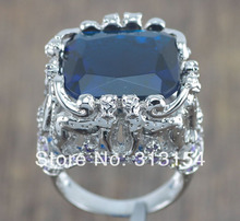 CiNily Blue Purple Zircon Silver Plated Cute Six Cow Wholesale Hot Sell for Women Men's Jewelry Ring Size 6  7 NJ4157