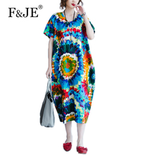 F&JE 2017 Summer New Arts style Women Short sleeve Loose Casual Long Dress Top Quality cotton linen Print Vintage Dress J943