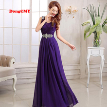 2017 New Fashion Long Design Purple Party Lace and Chiffon vestidos de festa Plus Size bridesmaid dresses