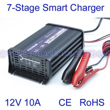 FOXSUR wholesale original 12V 10A 7-stage smart Lead Acid Battery Charger Car battery charger Aluminum pulse charger 180-260V in