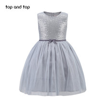Top and top girls dresses 2017brand children princess dress girls sequined vest dresses tutu dress kids formal clothes pink grey