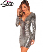 Dearlove vetement vintage retro autumn winter Embroidered dress Party2017 backless Silver Sequin Long Sleeve Night Dress LC22795