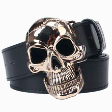 Big skull head belt silver plating skeleton skull faced mens leather belt cool punk style belt(China)