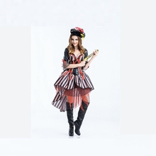 Halloween Adult Female Pirate Costumes Fancy Dress Cosplay Costume For Women Masquerade Carnival Pirate Party Costumes(China)