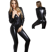 Buy Size S-5XL Women Wetlook Catsuit Black Faux Leather Bodysuit Sexy Low Cut Crotchless Skinny Jumpsuit Pole Dancing Costume