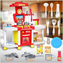 Baby Miniature Kitchen Plastic Pretend Play Food Children Toys With Music Light Kids Kitchen Cooking Toy Set For Girls Games Hot(China)