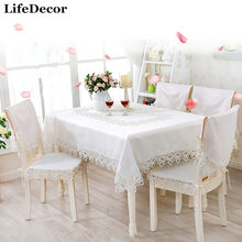 Fashion white embroidered tablecloth cutout table cloth lace table cloth t81008